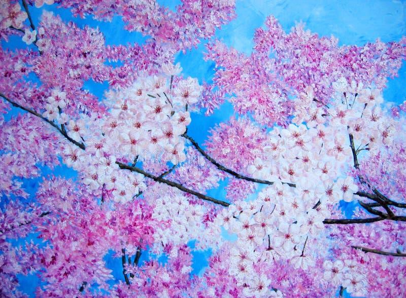 Pintura a óleo da flor de cereja cor-de-rosa. ilustração stock