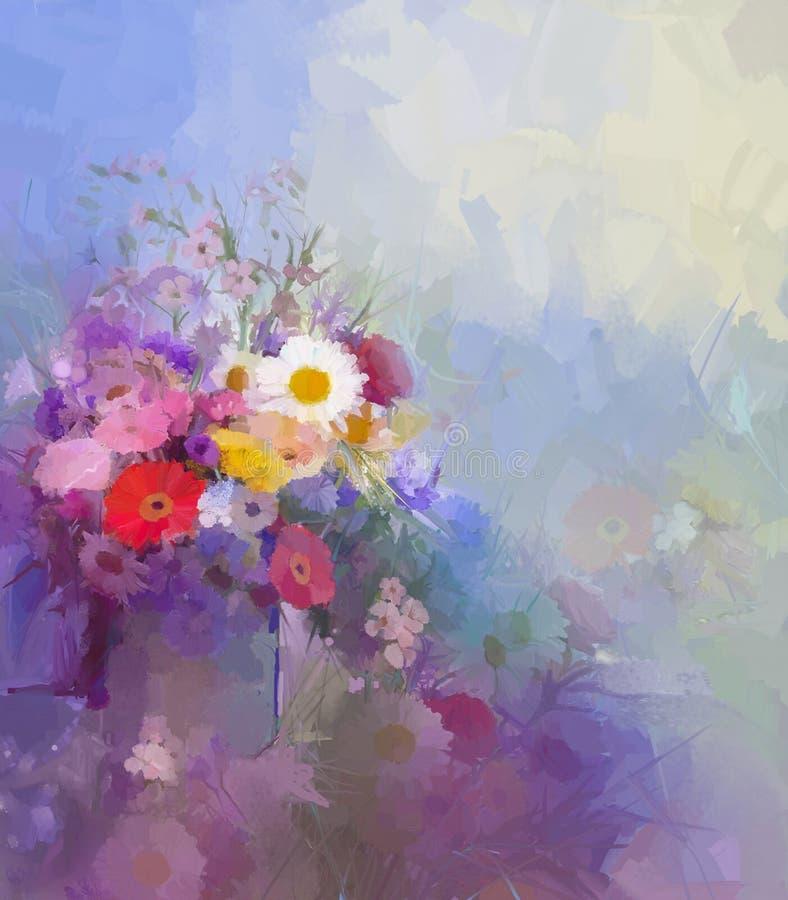 Pintura a óleo da flor Fundo da cor de Flora Vintage ilustração royalty free