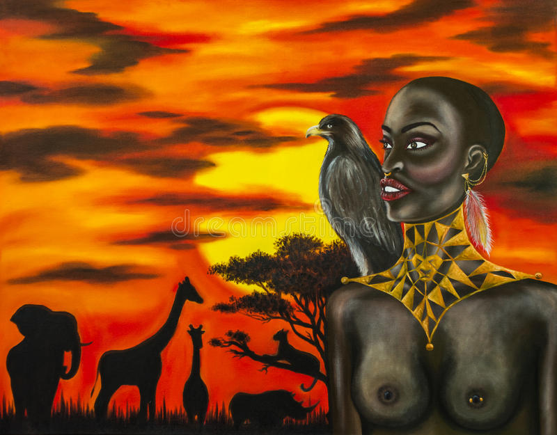 Pintura a óleo da mulher africana fotos de stock