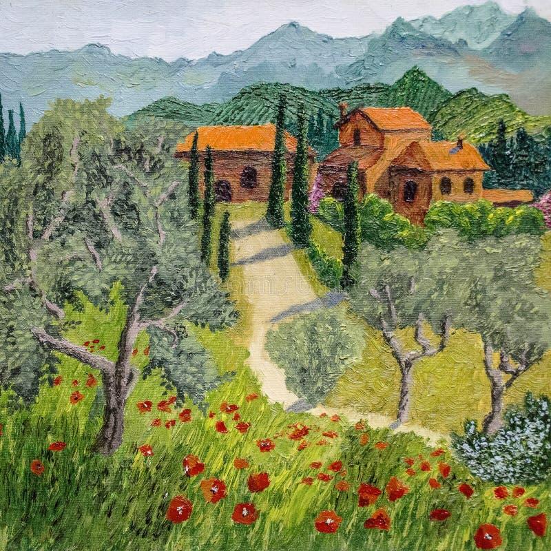 Pintura a óleo da paisagem de tuscan - o deus está nos detalhes ilustração do vetor