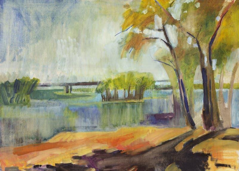 Pintura a óleo da paisagem do outono ilustração royalty free