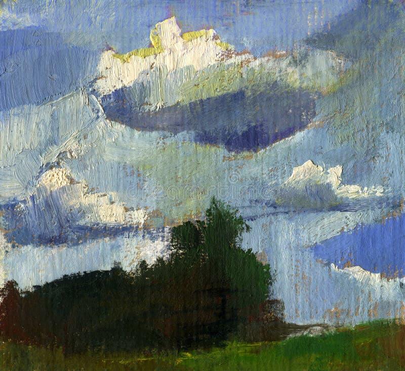 Pintura a óleo da paisagem do verão com nuvens ilustração stock