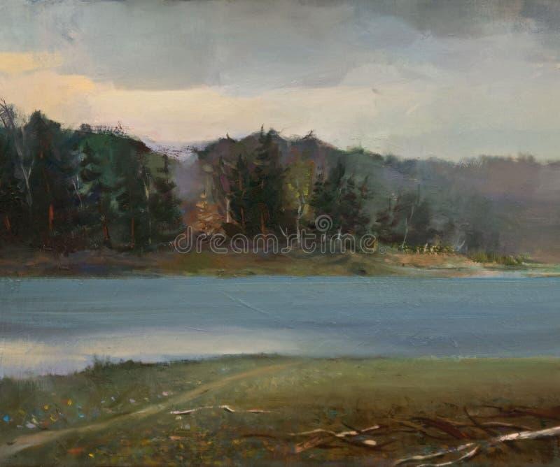 Pintura a óleo da paisagem fotografia de stock