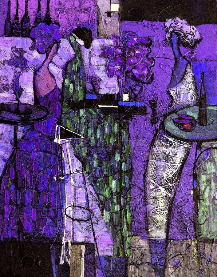 Pintura a óleo da textura seja o autor de Roman Nogin, conversa do ` s das mulheres do ` da série `, versão do ` s do autor da co fotos de stock royalty free