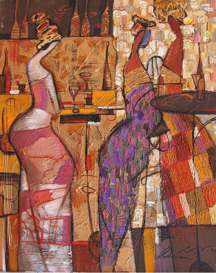 Pintura a óleo da textura seja o autor de Roman Nogin, conversa do ` s das mulheres do ` da série `, versão do ` s do autor da co foto de stock royalty free
