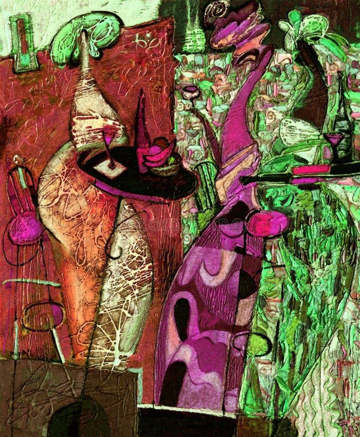 Pintura a óleo da textura seja o autor de Roman Nogin, conversa do ` s das mulheres do ` da série `, versão do ` s do autor da co fotos de stock