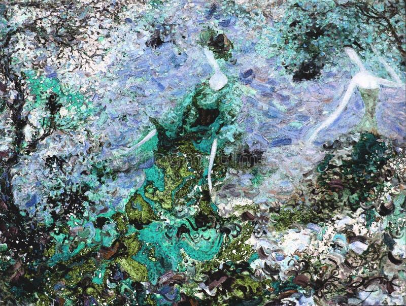 Pintura a óleo da textura seja o autor de Roman Nogin, conversa do ` s das mulheres do ` da série `, versão do ` s do autor da co foto de stock