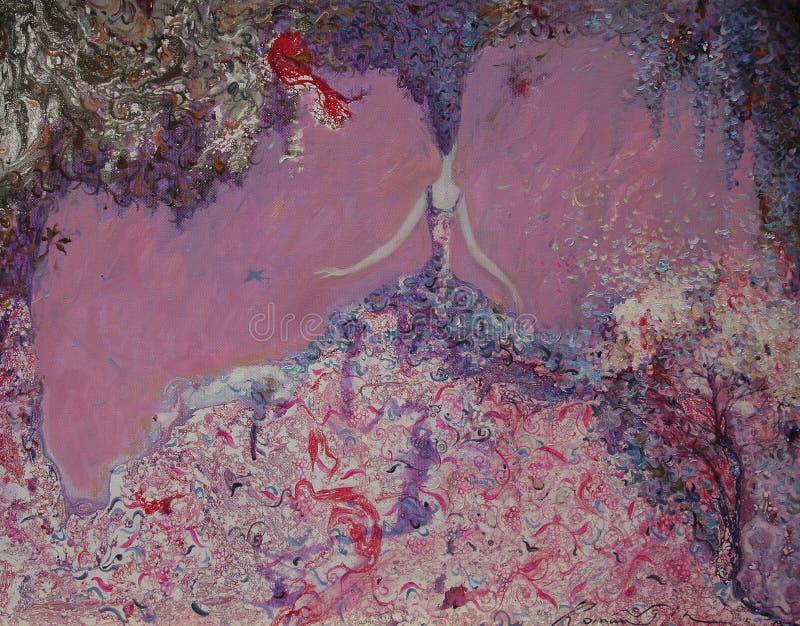 Pintura a óleo da textura seja o autor de Roman Nogin, conversa do ` s das mulheres do ` da série `, versão do ` s do autor da co imagem de stock royalty free