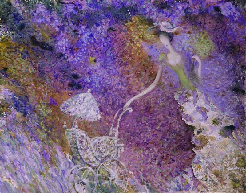 Pintura a óleo da textura seja o autor de Roman Nogin, conversa do ` s das mulheres do ` da série `, versão do ` s do autor da co fotografia de stock