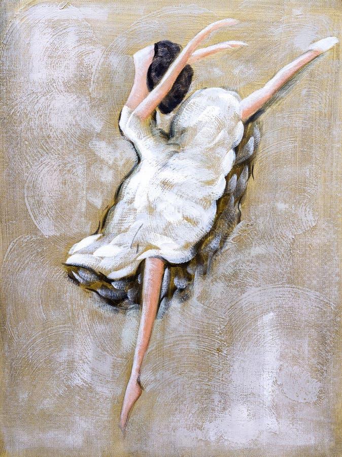 Pintura a óleo - dança do bailado ilustração stock