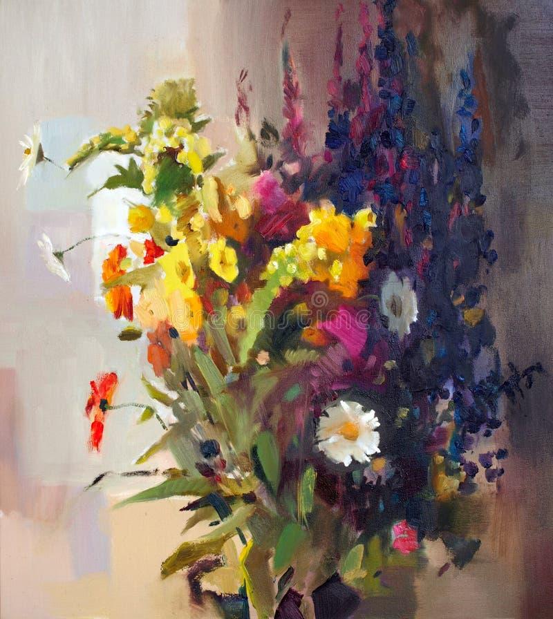 Pintura a óleo das flores ilustração stock