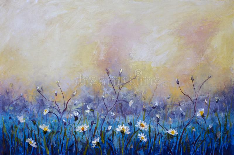 a pintura a óleo das flores, campo bonito floresce na lona Impressionismo moderno Arte finala de Impasto ilustração stock