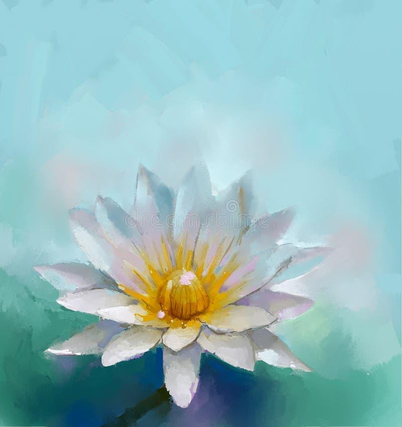 Pintura a óleo de Lotus ilustração royalty free
