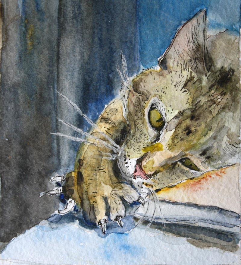Pintura a óleo de um gato impertinente que encontra-se na tabela ilustração do vetor