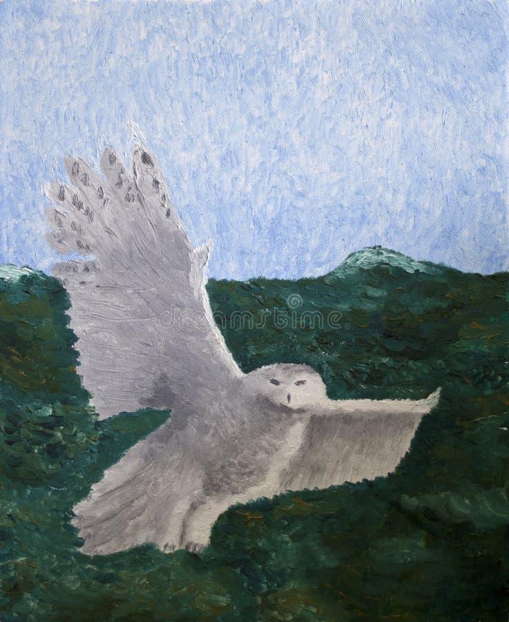 Pintura a óleo de uma coruja do vôo ilustração stock