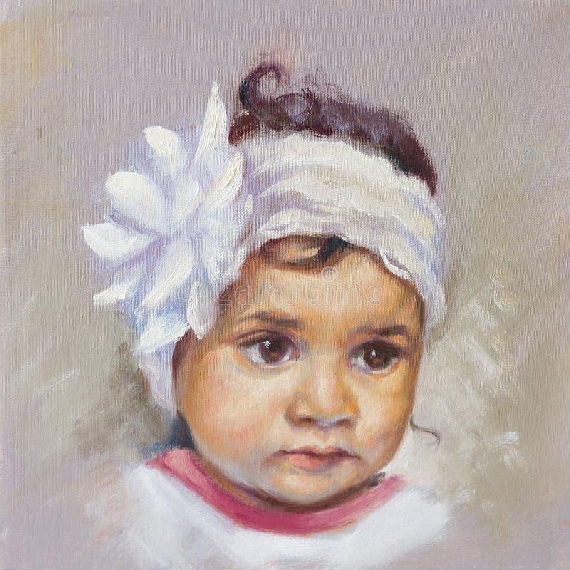 Pintura a óleo de uma criança ilustração royalty free