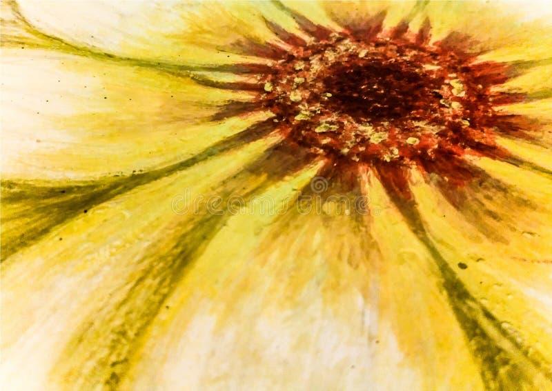 Pintura a óleo de uma flor da margarida ilustração royalty free