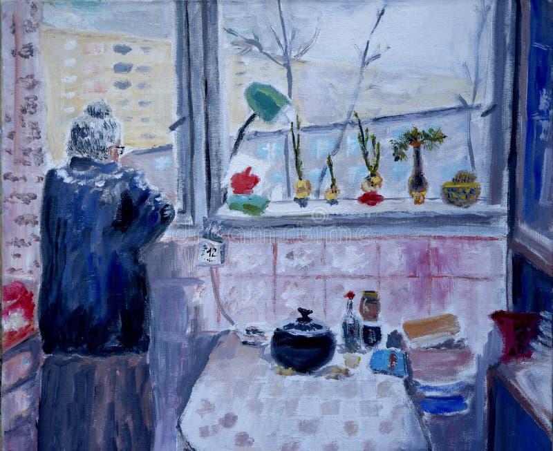 Pintura a óleo de uma senhora idosa que olha para fora sua janela da cozinha ilustração do vetor