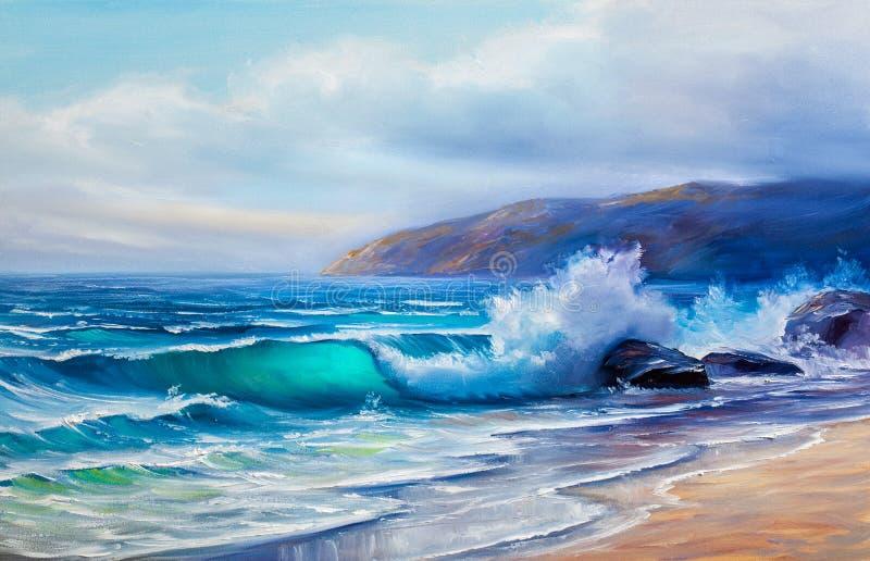 Pintura a óleo do mar na lona ilustração do vetor