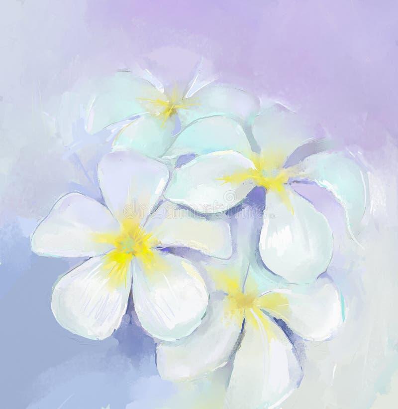 Pintura a óleo do Plumeria Pintura a óleo das flores brancas ilustração royalty free