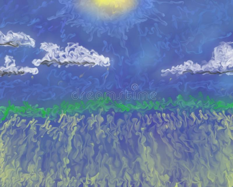 Pintura a óleo do sumário do scape da nuvem do dia ensolarado imagens de stock royalty free