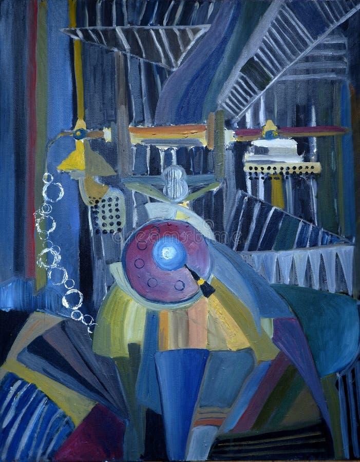 Pintura a óleo do telefone velho-fashinoed, estilo abstrato ilustração stock