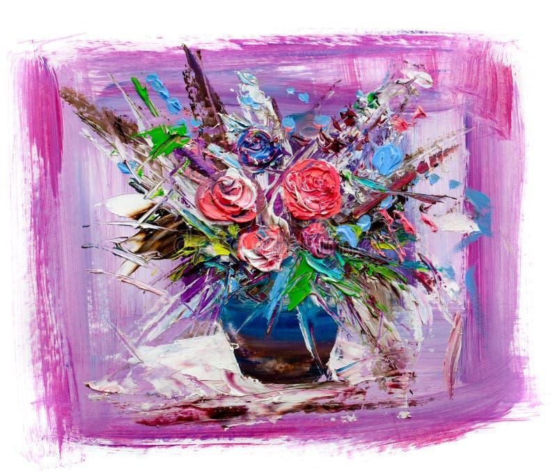 pintura a óleo do vaso ou da bacia bonita de rosas frescas ilustração royalty free