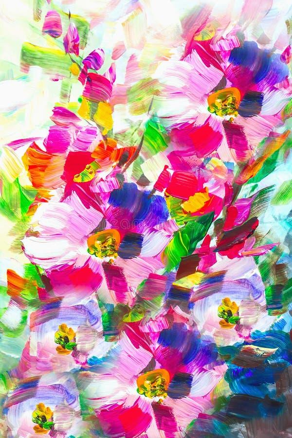 Pintura a óleo, estilo do impressionismo, pintura da flor, ainda painti imagens de stock royalty free