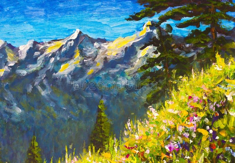 Pintura a óleo feito a mão original, flores bonitas em uma clareira da montanha na lona Montanhas ensolaradas e céu azul Artwo da ilustração stock