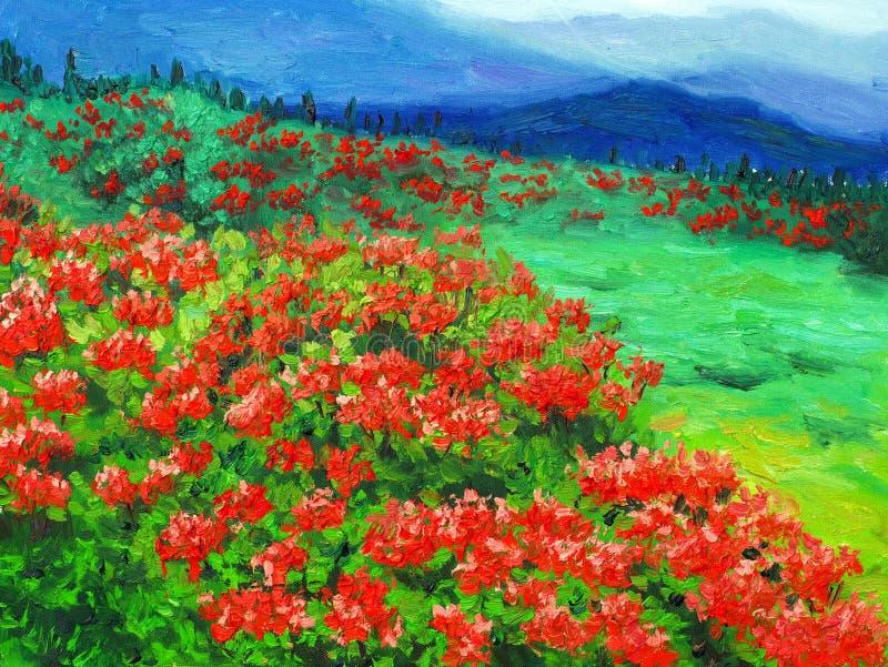 Pintura a óleo - flor selvagem ilustração stock