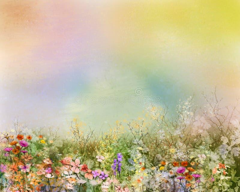 A pintura a óleo floresce a planta Cosmos roxo, margarida branca, centáurea, wildflower, flor do dente-de-leão nos campos ilustração do vetor