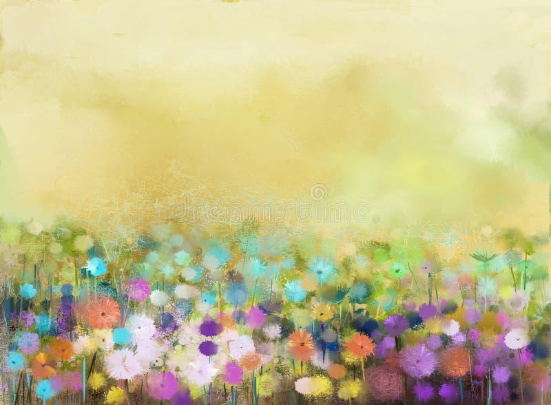 A pintura a óleo floresce a planta Cosmos roxo, margarida branca, centáurea, wildflower, flor do dente-de-leão nos campos ilustração royalty free