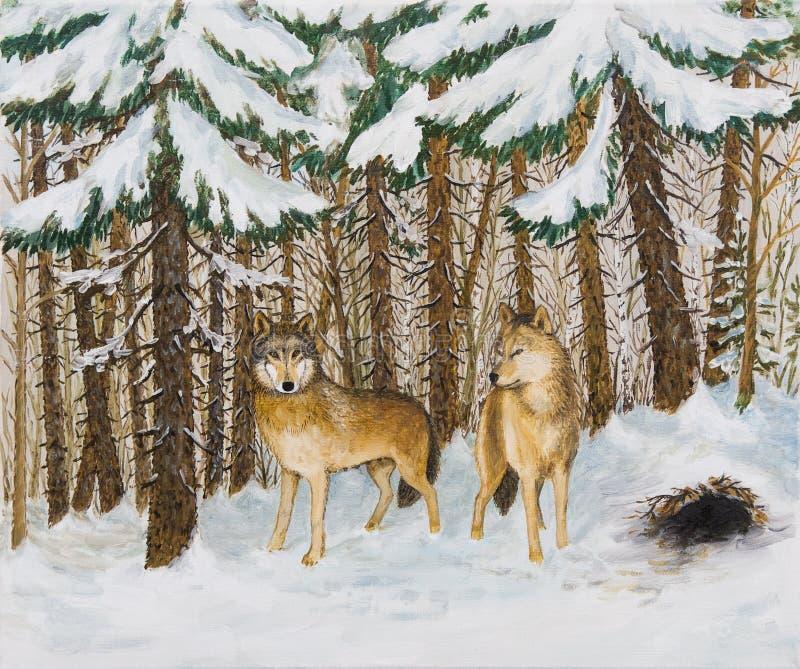 Pintura a óleo - lobos na floresta do pinho, inverno do russo ilustração royalty free
