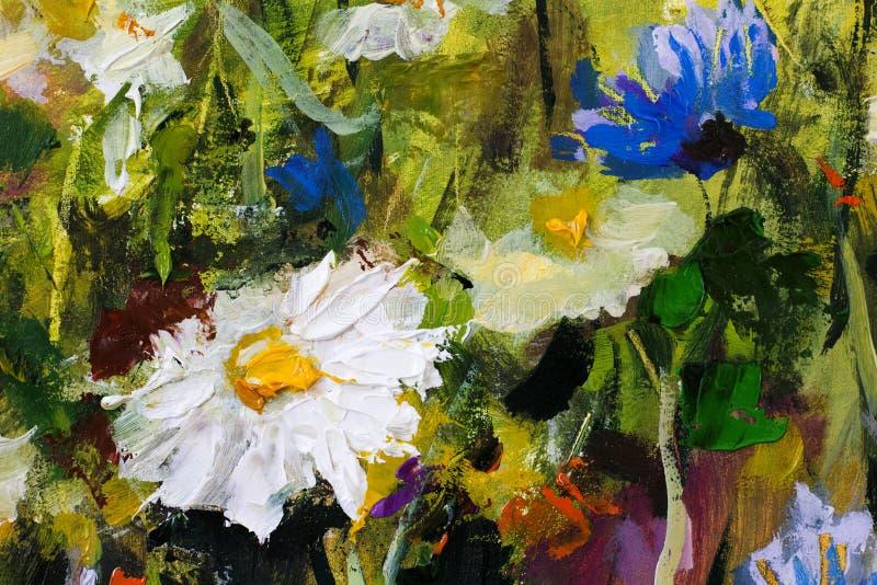 Pintura a óleo macro do close up grande dos camomiles da flor da margarida branca na lona Impressionismo moderno Arte finala de I ilustração do vetor