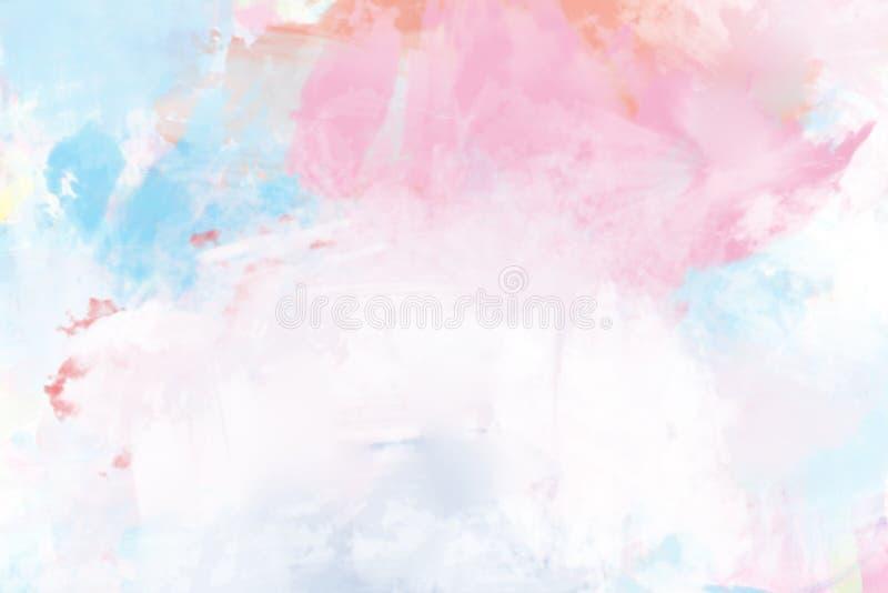 Pintura a óleo molhada abstrata em cor-de-rosa e branco azuis ilustração do vetor