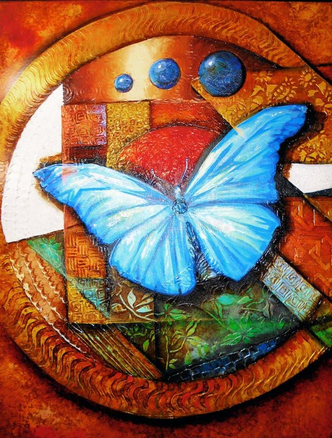 Pintura a óleo multicolorido da borboleta foto de stock