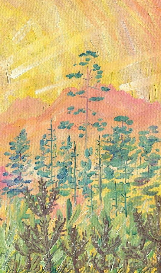 Pintura a óleo na lona Alvorecer nas montanhas ilustração stock