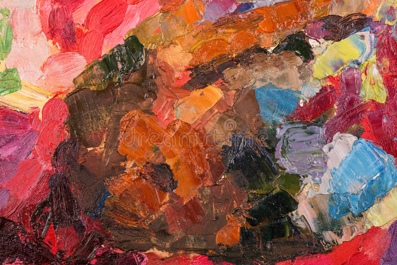Pintura a óleo na lona. Fundo colorido da pincelada abstrata. ilustração royalty free