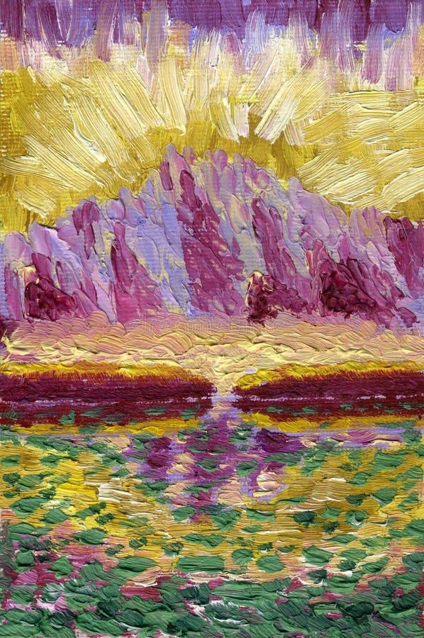 Pintura a óleo na lona Lago mountain com reflexões ilustração royalty free