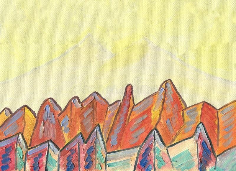 Pintura a óleo na lona Montanhas do conto de fadas ilustração royalty free