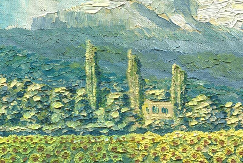 Pintura a óleo na lona Paisagem da montanha Casa pequena ilustração stock