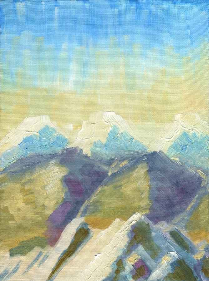 Pintura a óleo na lona Paisagem da montanha, vista de uma altura ilustração royalty free
