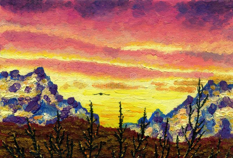 Pintura a óleo na lona Por do sol nas montanhas ilustração do vetor