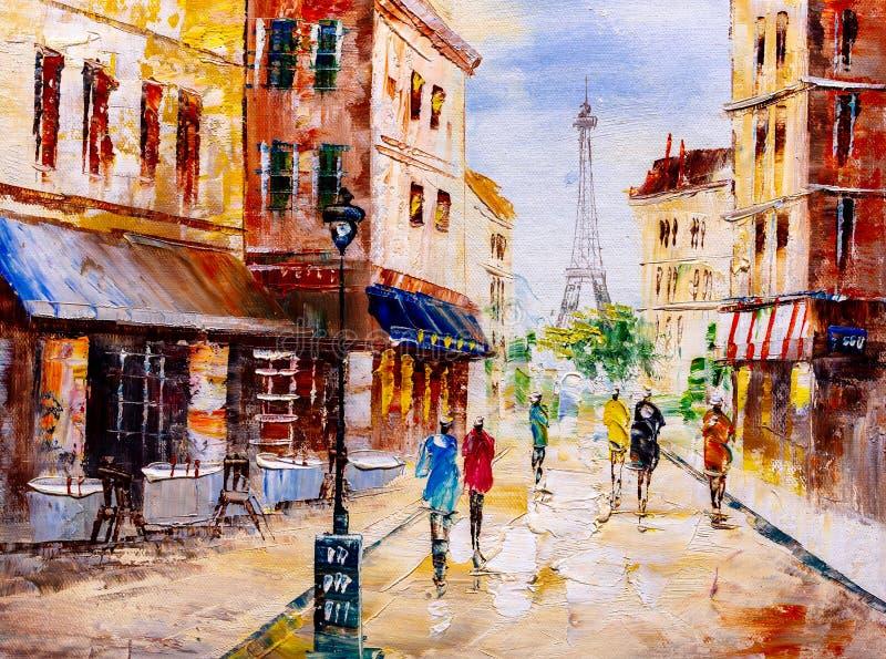 Pintura a óleo - opinião da rua de Paris ilustração do vetor
