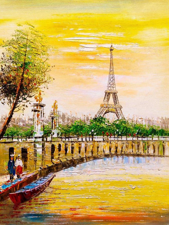 Pintura a óleo - opinião da rua de Paris ilustração stock