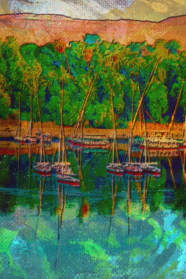 Pintura a óleo original de Feluccas ilustração royalty free