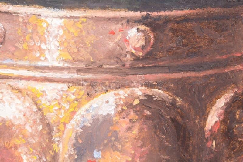 Pintura a óleo original de uma bandeja de cobre do metal na lona ilustração do vetor