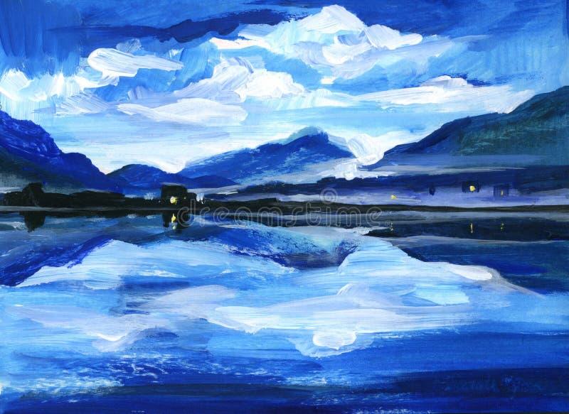 Pintura a óleo original do crepúsculo no lago da montanha altai imagem de stock royalty free