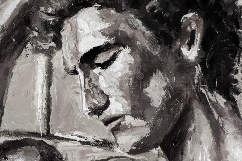 Pintura a óleo original do retrato principal abstrato preto e branco na lona - arte moderna do impressionismo ilustração stock