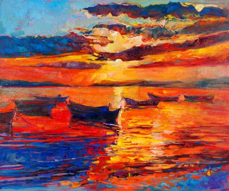 Por do sol sobre o oceano ilustração do vetor